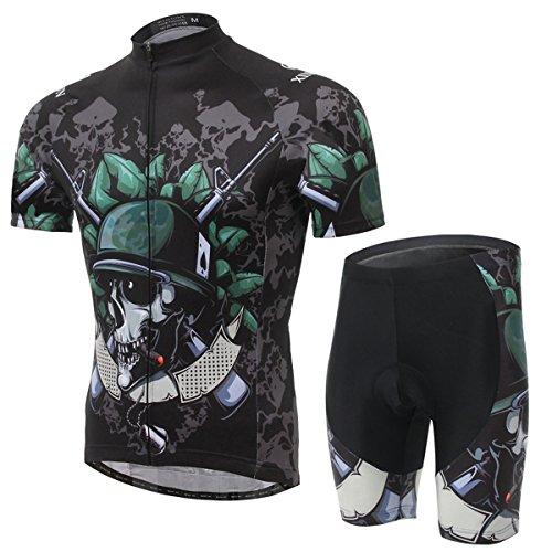 XINTOWN Hombre de secado rápido de respiración de manga corta de bicicletas de equitación ropa conjunto con cojín 3D rellenado para el ciclismo Negro azul blanco 6 Tamaño (azul blanco negro, L)