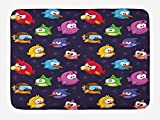 Funny Bath Mat, Angry Flying Birds Figure with Various Expressions Game Toy Kids Babyish Artsy Image, Plush Bathroom Decor Mat with Non Slip Backing, 23.6 W X 15.7 W Inches, Multicolor