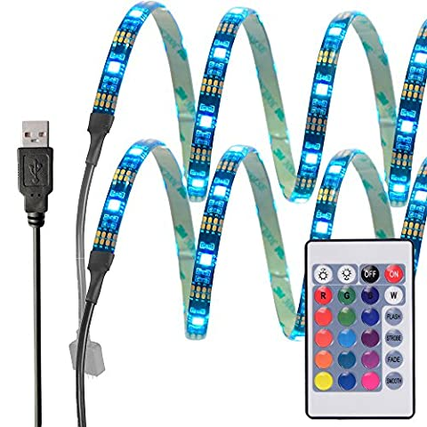 InnoBeta® 50cm(19.6 inch)X2 Multi-color LED Bias Backlight Lighting DC5V 7.2W IP65 Flexible Waterproof SMD5050 RGB Cuttable USB Strip for TV, HDTV, LCD Screen, Laptop, Desktop PC, Outdoor, Bedroom, Better Atmosphere and Reduce