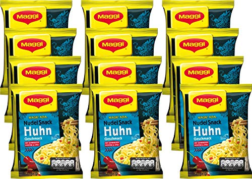Maggi Magic Asia Instant Nudelsnack Huhn, 12er Pack (12 x 65 g)