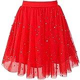 Mädchen Rock Rot Perle Sterne Funkelnd Tutu Tanzen Gr. 140-146
