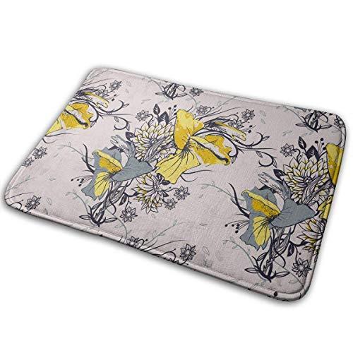 QuGujun Cheap Towels Floral Striped Vertical Watercolor Pattern Bath Mat Non Slip Absorbent Super Cozy Velvet Bathroom Rug Carpet Bath Rugs (Tan Geschirrtücher)