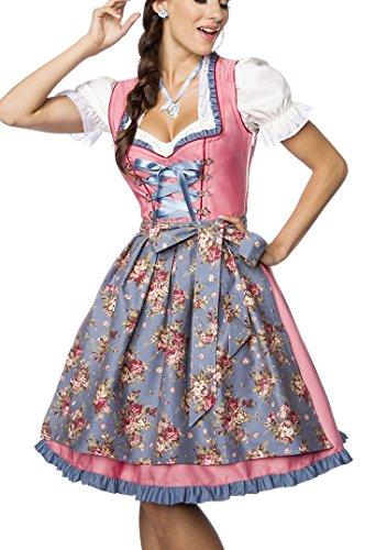 Blau Schürze Kostüm - Dirndl Kleid Kostüm mit Herzausschnitt und Schnürung und Schürze aus Denim Stoff und Spitze Oktoberfest Dirndl blau/rosa/weiß S