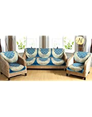 Nendle Luxurious Cotton Abstarct Design 5 Seater Sofa Cover Set for Living Room (Sky Blue, 6 Pieces)