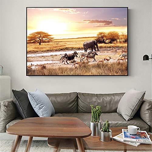 Rjjwai Afrika Landschaft Wand Poster Und Drucke Elefant Zebra Leinwandbilder Realistische Leinwandbilder Für Wohnzimmer Dekor Schlafzimmer 60x90cm -