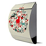 banjado - Design Edelstahl Briefkasten 30cmx45cmx14cm mit Motiv Christbaumkugel