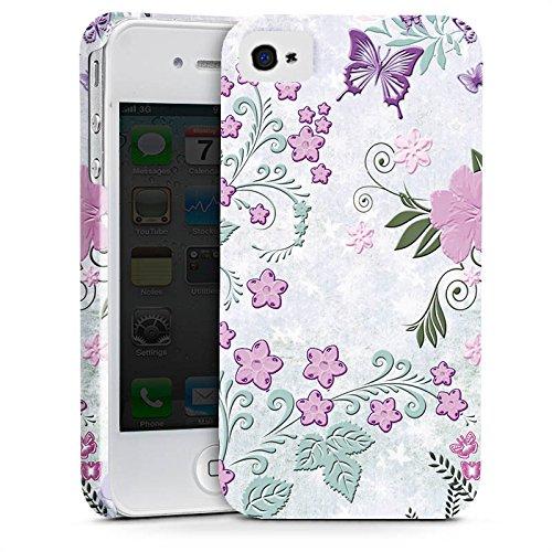Apple iPhone X Silikon Hülle Case Schutzhülle Schmetterlinge Blumen Ranken Premium Case glänzend