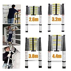 3.8 Meter Stehleiter Mehrzweckleiter Klappleiter Teleskopleiter aus Alu mit Rutsch-Gummi Teleskop-Design Klappleiter Ausziehbar 6X2 Sprossen 150 kg Belastbar