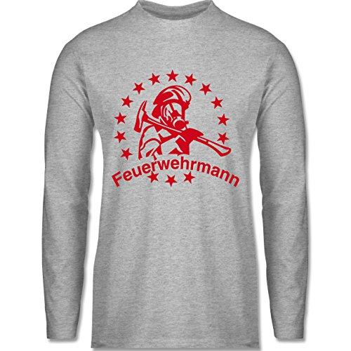 Feuerwehr - Feuerwehrmann - Longsleeve / langärmeliges T-Shirt für Herren Grau Meliert