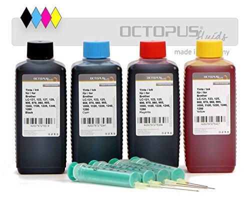 Octopus 4X 100 ml Nachfülltinten Druckertinte für Brother LC-121, LC-123, LC-125, LC-127, LC-129, LC-900, LC-970, LC-980, LC-985, LC-1000, LC-1100 u.a. Patronen inkl. Nachfüllspritzen, kein OEM -