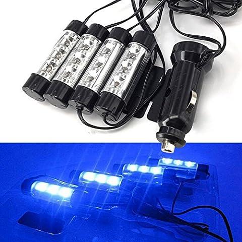 Caxmtu universel voiture bleue Atmosphère lumières décoratifs lampe 12V 4x 3LED Glow Auto Intérieur Source de lumière de voiture Styling Accessoires Décor