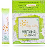 Happy Healthy Matcha Lemon Green Tea Powder - All Natural, No Added Sugar, Mixes Instantly, Helps Weight Loss,...