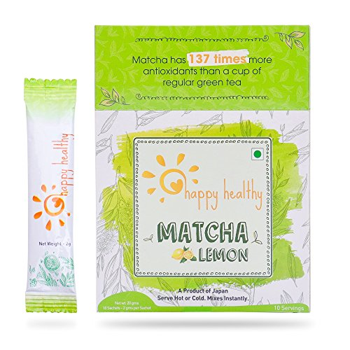 Happy Healthy Matcha Lemon Green Tea Powder – All Natural, No Added Sugar, Mixes instantly, Helps weight loss, Antioxidant rich health drink, Enjoy hot or cold, Product of Japan – 10 Servings