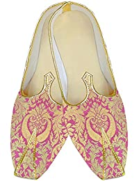 Mens Pink Kheenkhap Wedding Shoes Golden Floral MJ18413