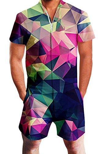 RAISEVERN Herren Strampler Overall Herren Zip up 3D Cooles Cartoon Grafik Designer Onesie Jumpsuit Strampelanzüge Strampler Overall Anzug mit Kurze ärmel Overalls Kurze Hose Rompers S-XL