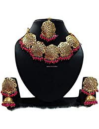 Apsara Art Jewellery Rakhi Special Collection Gold Plated Kundan Pink Pearl Traditional Necklace Set For Women...