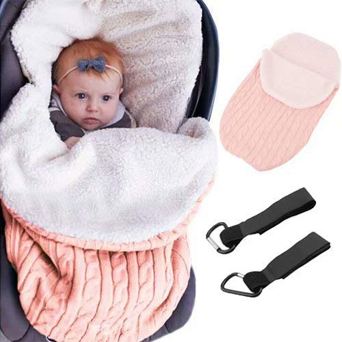 MiniGreen Baby Kleinkinder Unisex Neugeborene Gestrickte Kapuze Swaddle Schlafsack für Jungen Mädchen Häkeln Kuscheldecke Lamm Kaschmir Warm Weich Strickdecke Wickeldecke Schlafsack Kostüm - Rosa