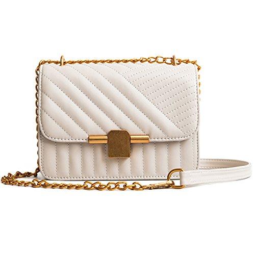 Kleine Tasche Damen Mode Rhombische Kette Handtaschen Wilden Schultertasche Trend Damen Umhängetasche 20 * 9 * 15 Cm,Beige-20 * 9 * 15cm -