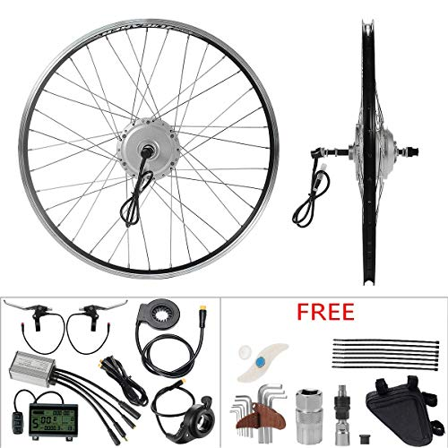 "YOSE POWER E-Bike Conversion Kit 36V350W 26\"" Zoll Hub Motor Schraubritzel Heckmotor Umbausatz Freilauf Silber mit LCD Display"