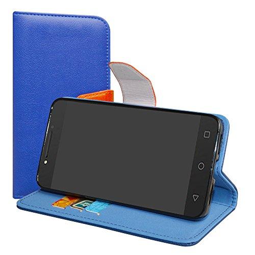 LiuShan Alcatel A5 LED Hülle, Brieftasche Handyhülle Schutzhülle PU Leder mit Kartenfächer und Standfunktion für Alcatel A5 LED Smartphone (mit 4in1 Geschenk Verpackt),Deep Blue