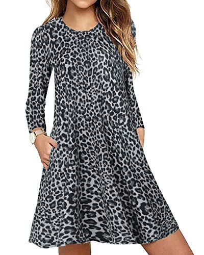 CNFIO Mujer Vestido Cuello Redondo Manga Larga Plus Tamaño Tops Moda Jersey Punto Mujer Invierno (Gris-Leopardo, XL)