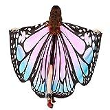 Frauen 197*125CM Weiche Gewebe Schmetterlings Flügel Schal Sonnena,feenhafte Damen Nymphe Pixie Halloween Cosplay Weihnachten Cosplay Kostüm Zusatz (Freie Größe, Sexy Rosa)