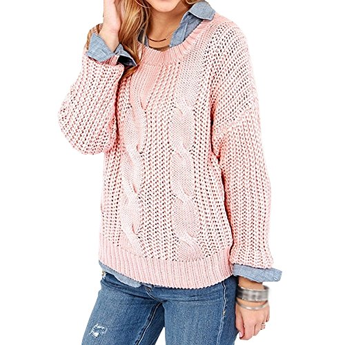 E-GIRL M015 Pull Tricot Femme,XS-XXL Rose