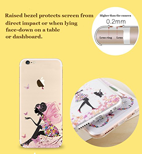 "Coque iPhone 7 4.7"" Ultra-Mince Silicone TPU Gel Transparent Souple Etui Housse Sunroyal® Apple iPhone 7 (4.7 Pouces) Case de Protection Spécial Back Cover Anti-Choc Bumper - Fleur Violet Motif 13"