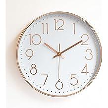 Komo silencioso Moderno Decoración Adorno para Hogar Moderno y Elegante Rosa de Oro Reloj de Pared