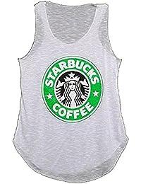 MIXLOT New Ladies Starbucks Logo Print T-Shirt Vest Coffee House Graphic Women Casual Vest Top Size 8-14