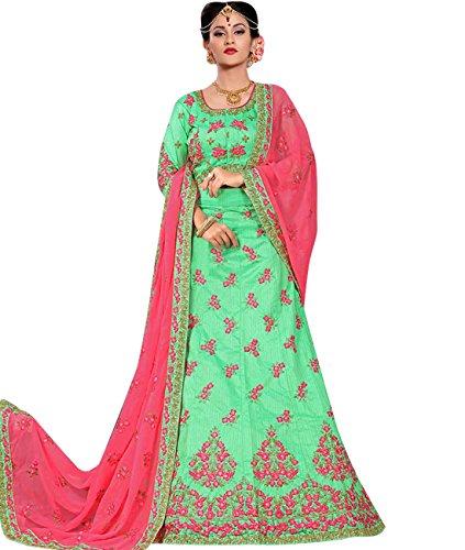 Indian Ethnicwear Bollywood Pakistani Wedding Light Green Coloured Lehenga Un-stitched