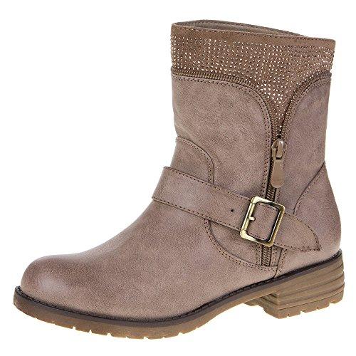 Damen Schuhe, 387-PA, STIEFELETTEN Khaki