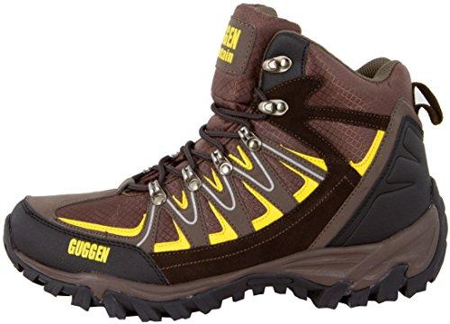 GUGGEN MOUNTAIN Pataugas Chaussures de randonnee Chaussures montantes Hiking Boots Unisex M009 Bottes et boots homme Femmes Marron-Jaune
