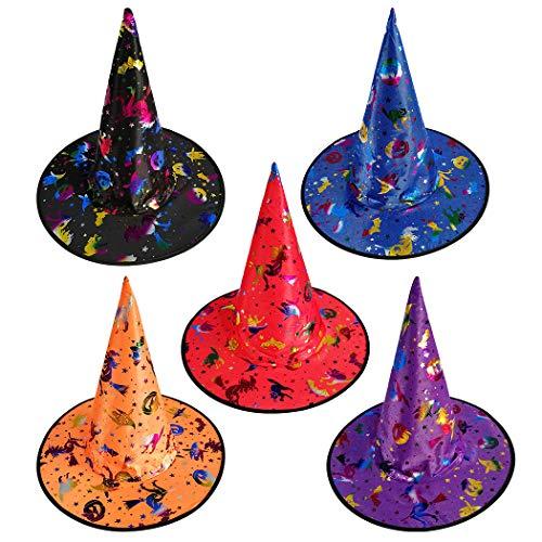 Joyibay 5 Stücke Halloween Hexenhut Cosplay Verschiedene Kostüm Hut Party Hut für Kinder (Katze Im Hut Familien Kostüm)