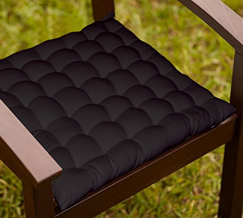 Lushomes Black Comfy Cotton Chair Cushion with 36 knots & 4 tie backs  available at amazon for Rs.399