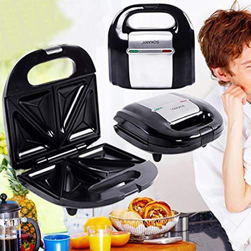 0Miaxudh Sandwich-Toaster, elektrischer Sandwich-Maker Mini Grill-Toaster, Multifunktionsküche Frühstück Waffelbrotofen(KJ-108)
