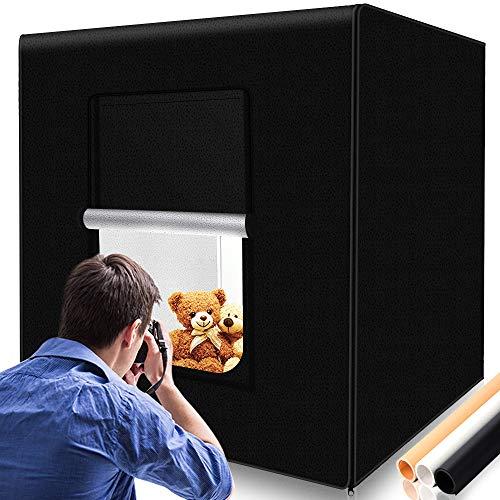 SAMTIAN Lichtzelt 80x80x80cm, Portables mobiles Fotostudio/Licht-Box mit 3 verschiedenen Hintergründen (schwarz, weiß, gelb) -