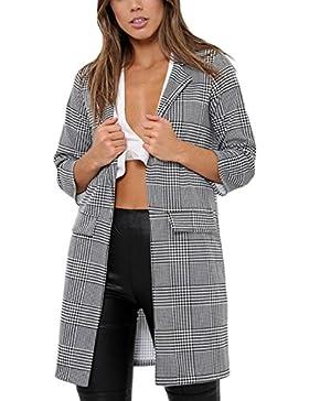 Mujeres Abrigo Chaqueta De Cuadros Clasicos Top Outwear Chaqueta Casual Blazer Pata De Gallo
