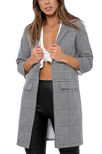 Les Femmes Classic Manteau À Carreaux Occasionnel Extérieur De La Tenue Blazer Veste Pied - De - Poule Cardigan Haut Grey XL
