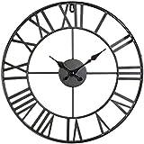 Horloge pendule murale en métal style vintage - diamètre 40 cm - Coloris NOIR
