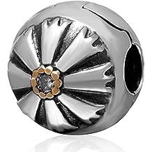 Autentica clip argento 925 Amicizia fascino del fiore branelli del tappo serratura con CZ pietra