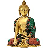 Crafthut God Gautam Buddha Brass Statue Sitting Position(LXBXH - 3X 4.75 X 6 Inches),Weight - 1.2 kgs
