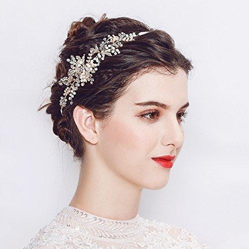 251116 Romantische Perle Stirnband Blatt Kristall Tiara Hochzeit Haarschmuck Kostüm Zubehör Für Frauen,Gold-S
