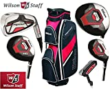 Wilson Prostaff Graphite Shafted HDX Irons & Graphite Shafted HDX Woods Super Deluxe Mens Complete Golf Club Set & Prostaff Black/Red Cart Bag Mens Right Hand (Limited Edition, Only available from The Golf Store 4u Ltd)