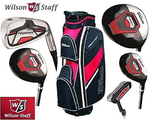Wilson Prostaff Hl Graphit Graphit Eisen & HDX HDX Woods Super Deluxe Herren Golfset, & Prostaff Schwarz/rot (Cart Bag Männer, rechts, (Limited Edition, nur von den Golf Store 4u Ltd.)