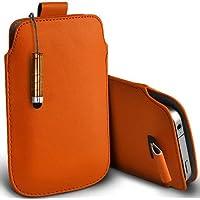 Arancione Shelfone–Protezione in pelle con linguetta per Blackberry Curve 8310(L) pennino capacitivo