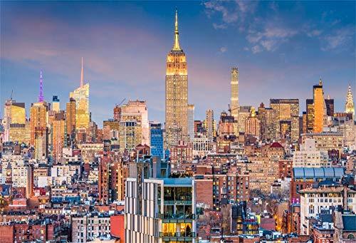 YongFoto 2,2x1,5m Vinyl Foto Hintergrund New York City Skyline Wahrzeichen der Stadt Fotografie Hintergrund Fotostudio Hintergründe Requisiten