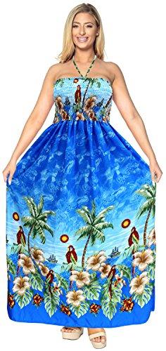 La-Leela-tubo-de-la-tapa-mujeres-de-la-falda-de-playa-desgaste-del-saln-vestido-halter-encubrir-vestido-largo-traje-de-bao-azul
