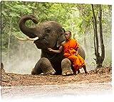 un monaco con gli elefanti nella foresta, formato: 60x40 su tela, XXL enormi immagini completamente Pagina con la barella, stampa d'arte sul murale con telaio, più economico di pittura o un dipinto a olio, non un manifesto o un banner,