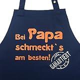 Papa Kochschürzen und Grillschürzen Kollektion - Bei Papa schmeck`s am besten. Garantiert! - lustige Kochschürze für Männer Grillschürze für Papa Geschenkidee Vater (Bei Papa schmeckt`s, navyblau)